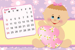 Baby's monthly calendar for 2011. Baby's monthly calendar for april 2011 Royalty Free Stock Images