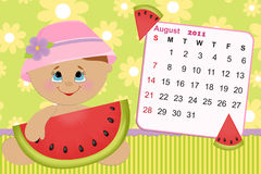 Baby's monthly calendar for 2011. Baby's monthly calendar for august 2011 vector illustration