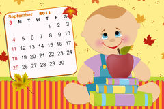 Baby's monthly calendar for 2011. Baby's monthly calendar for september 2011 royalty free illustration