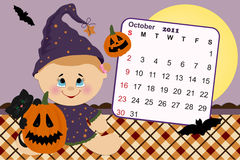 Baby's monthly calendar for 2011. Baby's monthly calendar for october 2011 royalty free illustration