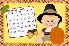 Baby's monthly calendar for 2011. Baby's monthly calendar for novmber 2011 Royalty Free Stock Image