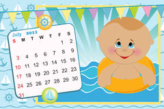Baby's monthly calendar for 2011. Baby's monthly calendar for july 2011 vector illustration