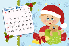 Baby's monthly calendar for 2011. Baby's monthly calendar for december 2011 stock illustration
