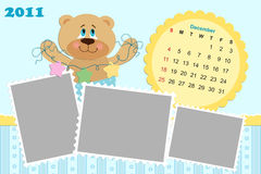 Baby's monthly calendar for 2011. Baby's monthly calendar for december 2011's with photo frame Stock Photos