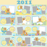 Baby's monthly calendar for 2011. Baby's monthly calendars for 2011 vector illustration