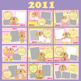 Baby's monthly calendar for 2011. With photo frames vector illustration