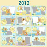 Baby's monthly calendar for 2012. Baby's monthly calendar for year 2012 royalty free illustration