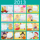 Baby's monthly calendar for 2013. Baby's monthly calendar for year 2013 Royalty Free Stock Photo