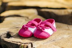 Baby's Pink Flats Royalty Free Stock Photography