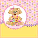 Baby's postcard with doggy. And letter cubes royalty free illustration