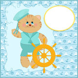 Baby's postcard with sailor cat Royalty Free Stock Photos