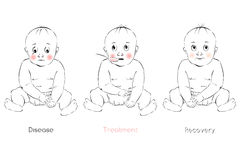 Baby's recovery, child's facial expression, vector template Stock Images