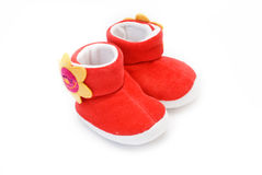 Baby's red shoe Stock Image