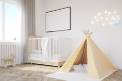 Baby`s room. Crib, tent Royalty Free Stock Image