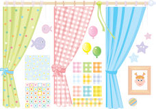 Baby's room,   elements for design, small girl. Royalty Free Stock Photo