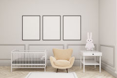Baby`s room with a hare and three vertical posters Royalty Free Stock Photo