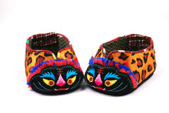 Baby's shoes with tiger head Stock Photography