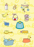 Baby's things. Illustration of a set of baby's things. Digital colors Royalty Free Stock Photography