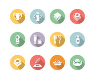 Baby's things icon set color with long Stock Images