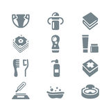 Baby's things icon set gray Royalty Free Stock Photos