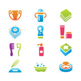Baby's things icon set Stock Images