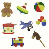 Baby`s toys set. Vector illustration. Teddy bear, yule, ball, drum, airplane cubes steam locomotive horse stock illustration