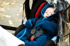 Baby in safety car seat Royalty Free Stock Photography
