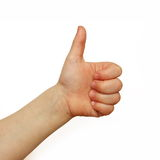 Baby said yes. Thumb up hand sign on white background Royalty Free Stock Photo