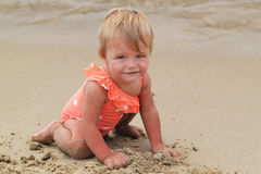Baby on a sand beach Royalty Free Stock Photography