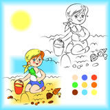 Baby on the sand coloring book. Vector illustration Stock Photo