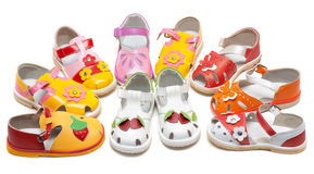 Baby sandals exposed by semicircle Stock Photo