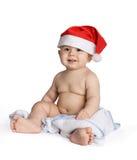 Baby in santa cap Stock Photo