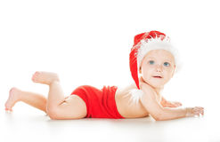 Baby in santa cap Royalty Free Stock Photos