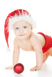 Baby in santa cap Stock Photography