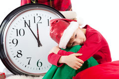 Baby in Santa Claus hat waiting for gift Royalty Free Stock Photo