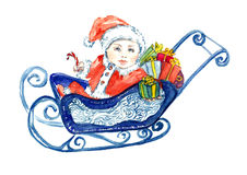Baby Santa Claus sitting in sleigh with gifts for greeting card. Hand painted watercolor illustration, Baby Santa Claus sitting in sleigh with gifts for greeting Stock Photography
