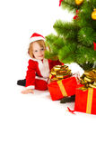 Baby in santa costume Stock Photography