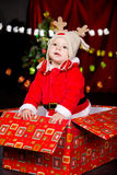 Baby in Santa costume Royalty Free Stock Image
