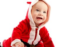 Baby in santa-costume Stock Photos