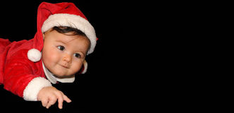 Baby in Santa costume royalty free stock photos