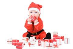 Baby In Santa Costume Stock Photography