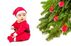 Baby in Santa costume Stock Image