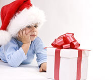 Baby in santa hat royalty free stock images