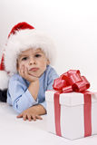 Baby in santa hat Stock Images