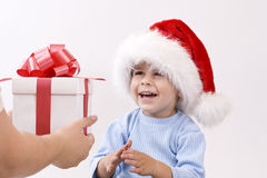 Baby in santa hat royalty free stock photo