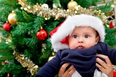 Baby with Santa hat Stock Image