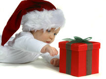 Baby in Santa Hat Royalty Free Stock Image