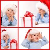 Baby in santa hat Royalty Free Stock Photos