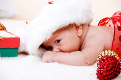 Baby in Santa hat Stock Photography