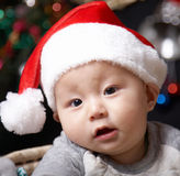 Baby in santa hat. Asian baby boy in asanta hat Stock Photo